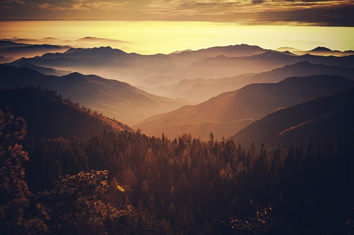 Scenic Sunset in the California Sierra Nevada Mountains. Photo Taken From Sequoia National Park. California, United States of America.