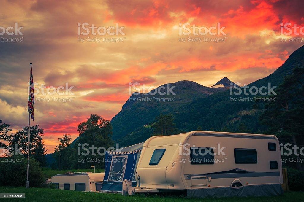 Scenic Camping Sunset stock photo