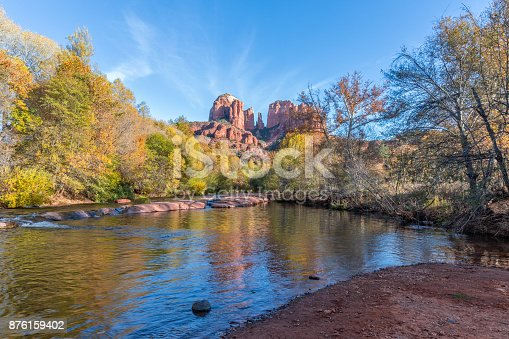 the scenic landscape of cathedral rock Sedona Arizona in fall