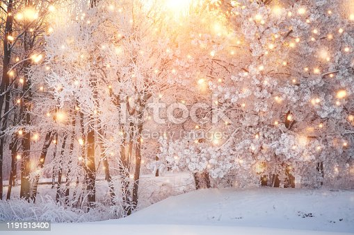Scenic christmas background with colorful snowflakes and white snowy nature