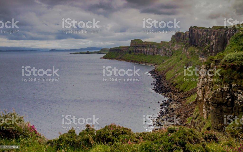 Scenic cliffs near Kilt Rock on the Trotternish Peninsula, Isle of Skye, Scotland, Britain stock photo