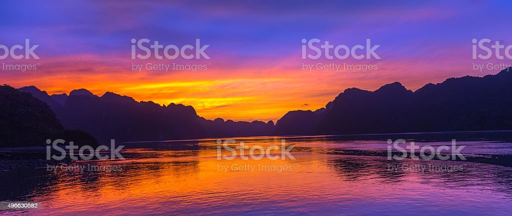 Scenic cloud sunset sky background stock photo
