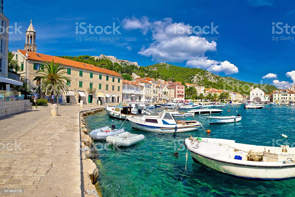 Scenic coast of town Hvar stock photo