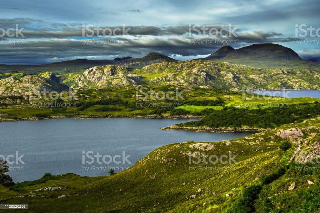 Scenic Coastal Landscape With Remote Village Around Loch Torridon And Loch Shieldaig In Scotland stock photo
