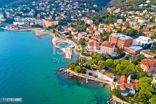 Scenic coastline of Opatija and Slatina beach aerial view, Kvarner bay of Croatia