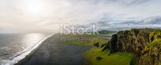 Scenic coastline in Iceland where the Atlantic Ocean meets the back sand beaches of the the Southern part of Iceland.