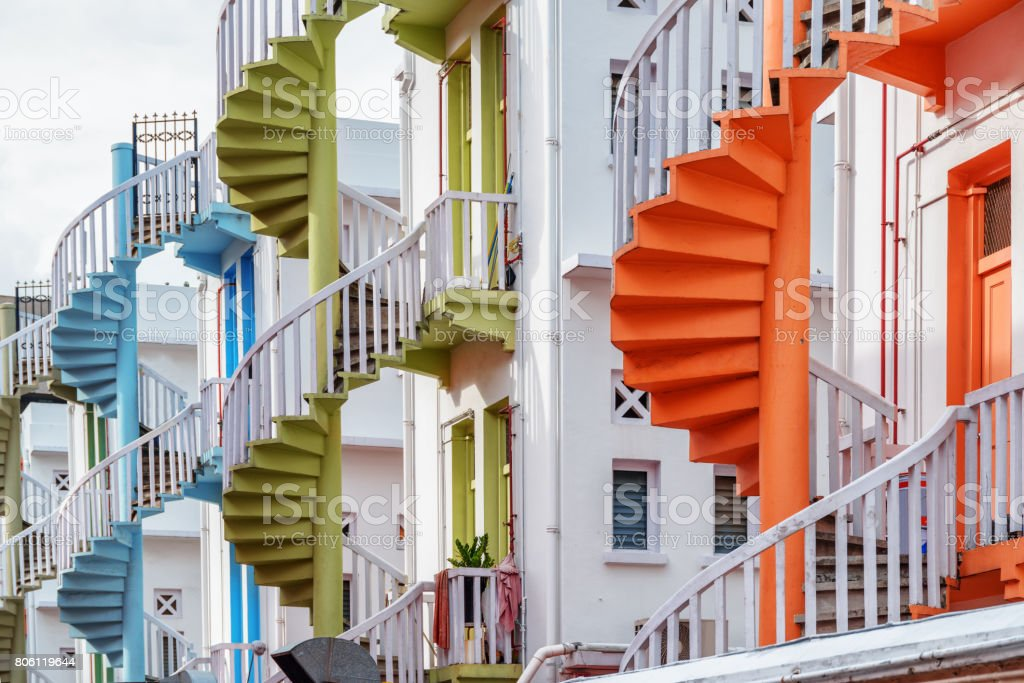 Scenic Colorful Exterior Spiral Staircases In Singapore Royalty Free Stock  Photo