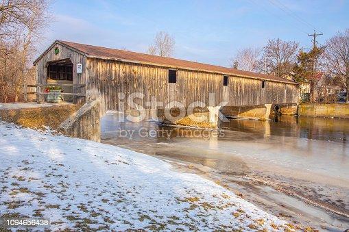 Scenic Covered Wooden Bridge In Mishicot, Wisconsin.