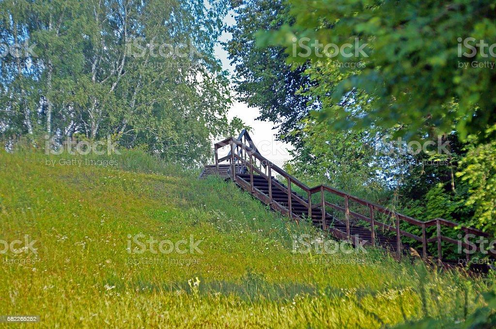scenic descent to the river Oka Hill at Polenovo stock photo