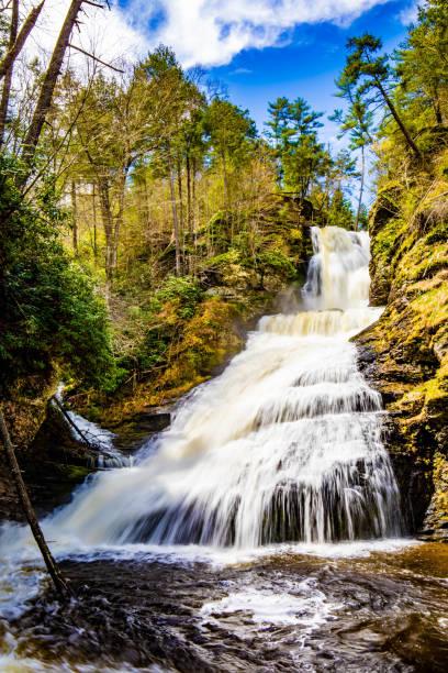 Scenic Dingmans Falls in Delaware Township tourist destination stock photo