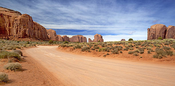 scenic dirt road in monument valley stock photo