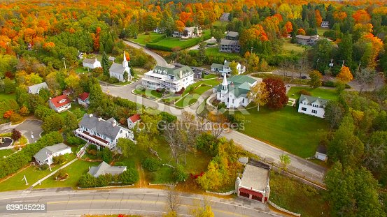 Scenic Door County Wisconsin autumn aerial of Sister Bay.