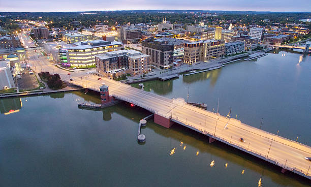 scenic downtown green bay wisconsin waterfront - green bay wisconsin stock photos and pictures