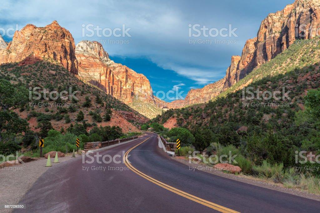 Scenic drive in Zion national park, Utah. stock photo