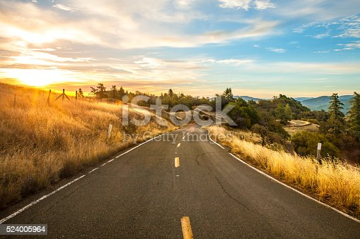 Curving two lane road through golden fields and deep green trees as the morning sun rises over the hills.