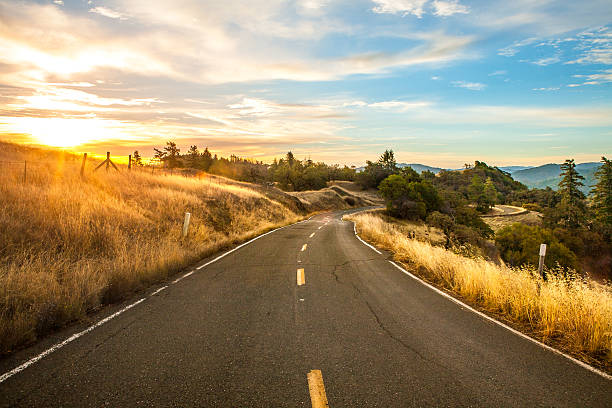 Scenic Drive On Orr Springs Road At Dawn, Mendocino County stock photo