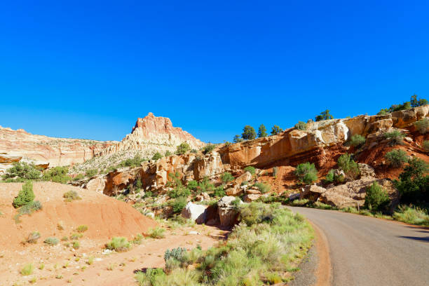 Scenic Drive through Capitol Reef National Park stock photo