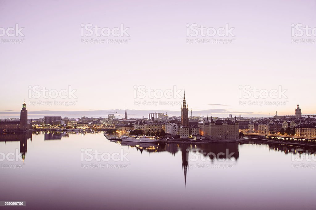 Scenic evening panorama of Stockholm, Sweden stock photo