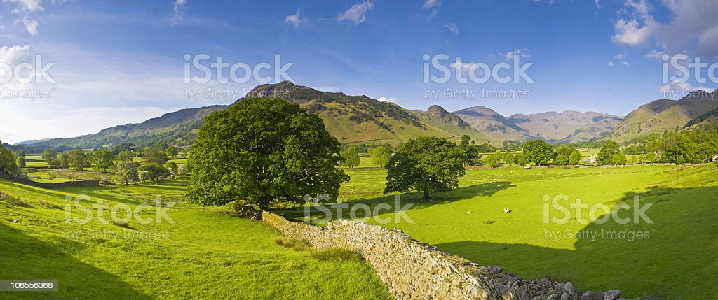 Scenic fields and drystone walls in England's Lake District royalty-free stock photo