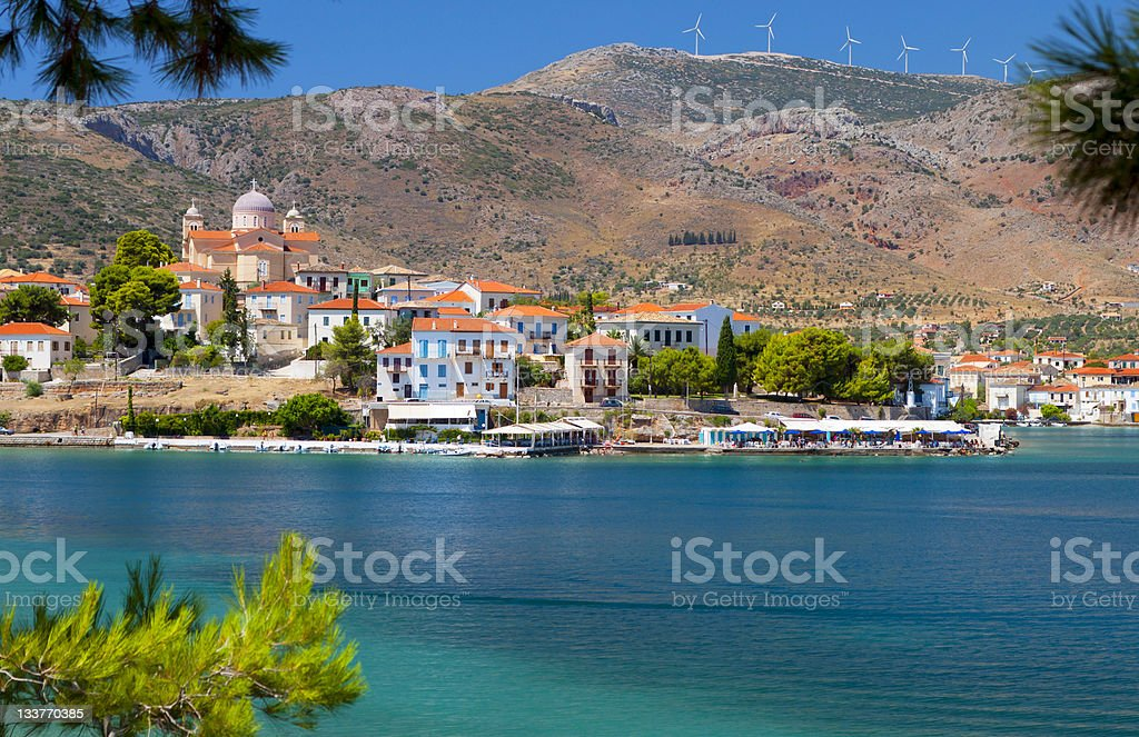 Scenic fishing village of Galaxidi in Greece stock photo