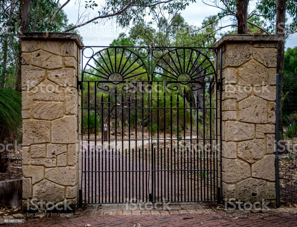 Scenic forged gate entrance in Yanchep National Park, City of Wanneroo, Perth, Western Australia stock photo