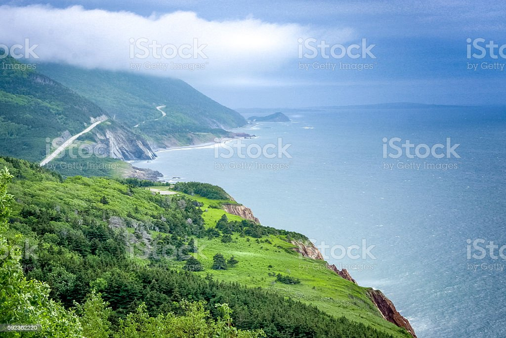 scenic  green lands and road of Cape Breton stock photo