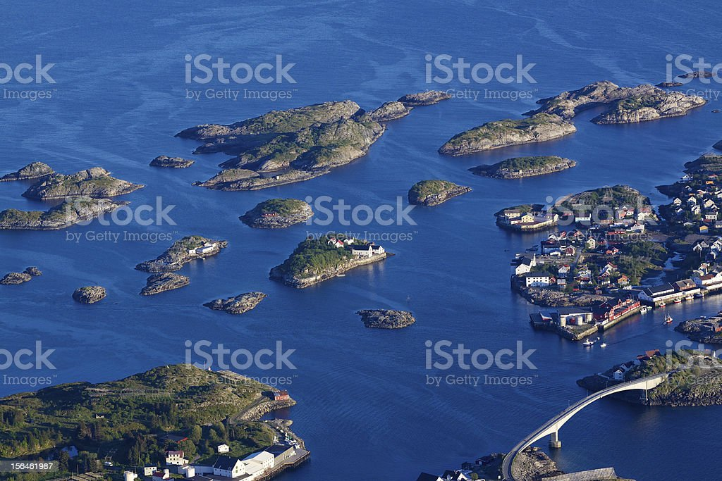 Scenic Henningsvaer on Lofoten royalty-free stock photo