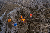 istock Scenic high angle view of Cappadocia in Turkey from hot air balloon 1296823500