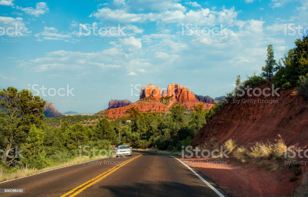 Scenic highway to Cathedral Rock in Sedona. stock photo