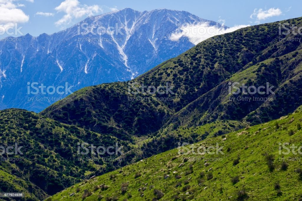 scenic hills and mountains stock photo
