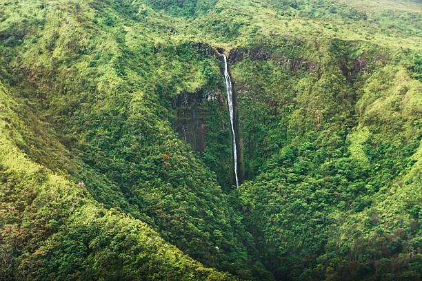 Scenic Honokohau Aerial View Hana Maui Waterfall Haleakala National Park stock photo