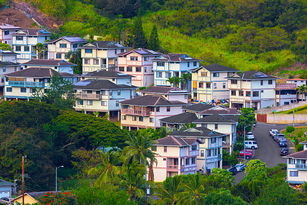 Scenic Honolulu Oahu Hawaii Suburban Neighborhood stock photo