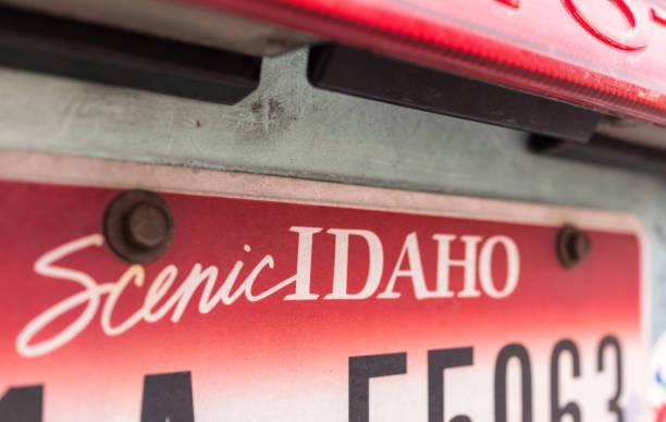 Scenic Idaho car license plate close-up stock photo