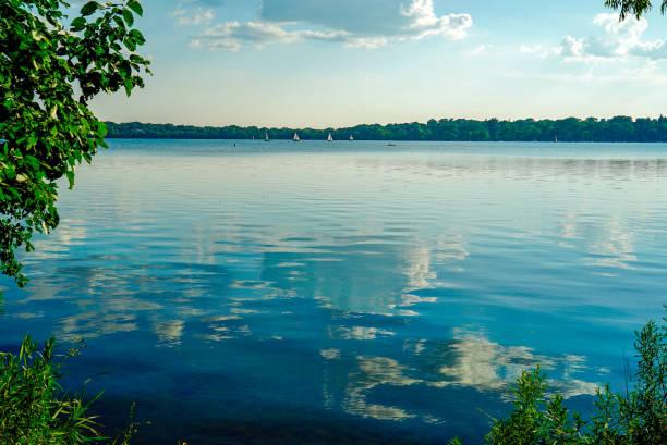 Scenic Lake Harriet in Minneapolis, Minnesota on a sunny summer afternoon stock photo