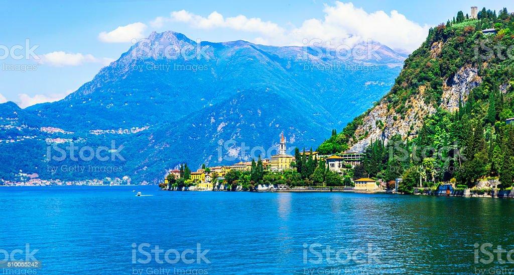 scenic lake Lago di Como and Varenna village, Italy stock photo