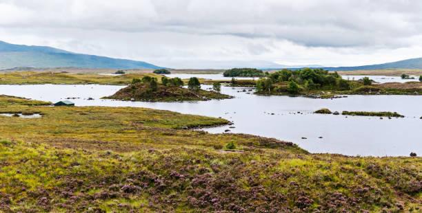 Scenic lakes in Scottish moorlands stock photo