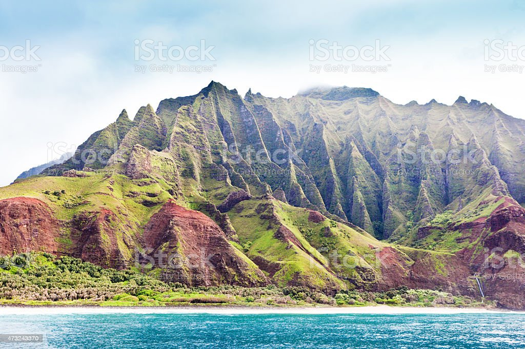 Scenic Landscape Na Pali Coast State Park of Kauai, Hawaii stock photo
