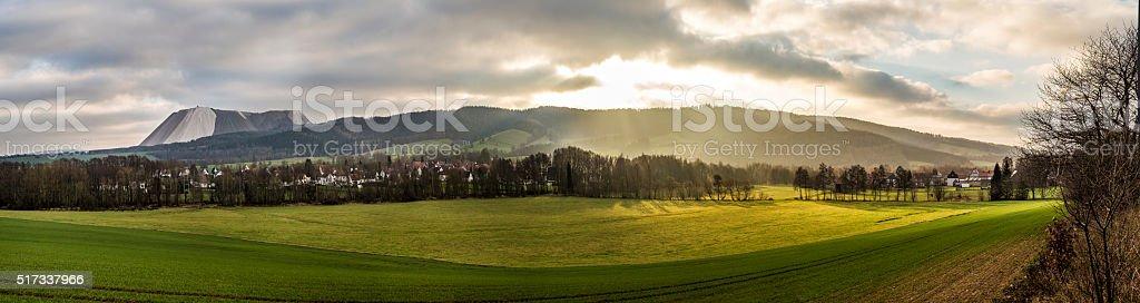 scenic Landscape near Bad Frankenhausen in the Kiffhaeuser mount stock photo