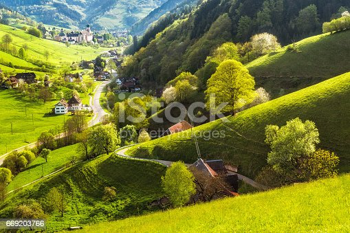 istock Scenic landscape of a picturesque green mountain valley in spring. Germany, Black Forest. 669203766