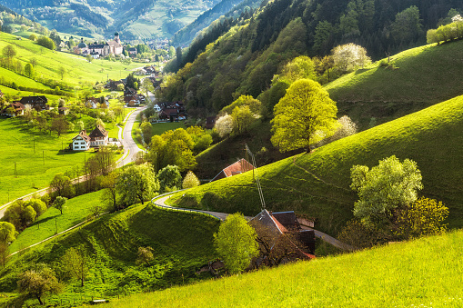 Scenic landscape of a picturesque green mountain valley in spring. Germany, Black Forest.
