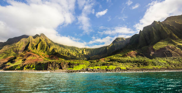 Scenic Landscape of Na Pali Coast of Kauai, Hawaii stock photo