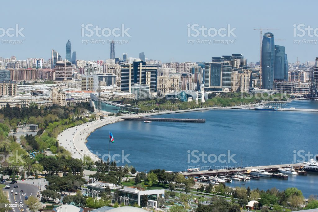 Scenic landscape of skyline Baku with numerous modern high-rise buildings under construction stock photo