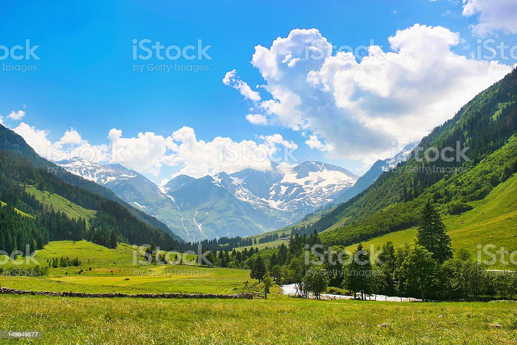 Scenic landscape of the Alps in Austria stock photo