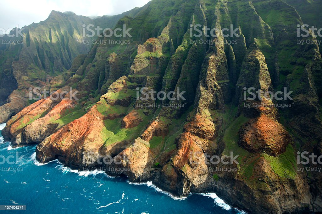 Scenic landscape of the Na Pali Coast of Kauai, Hawaii stock photo