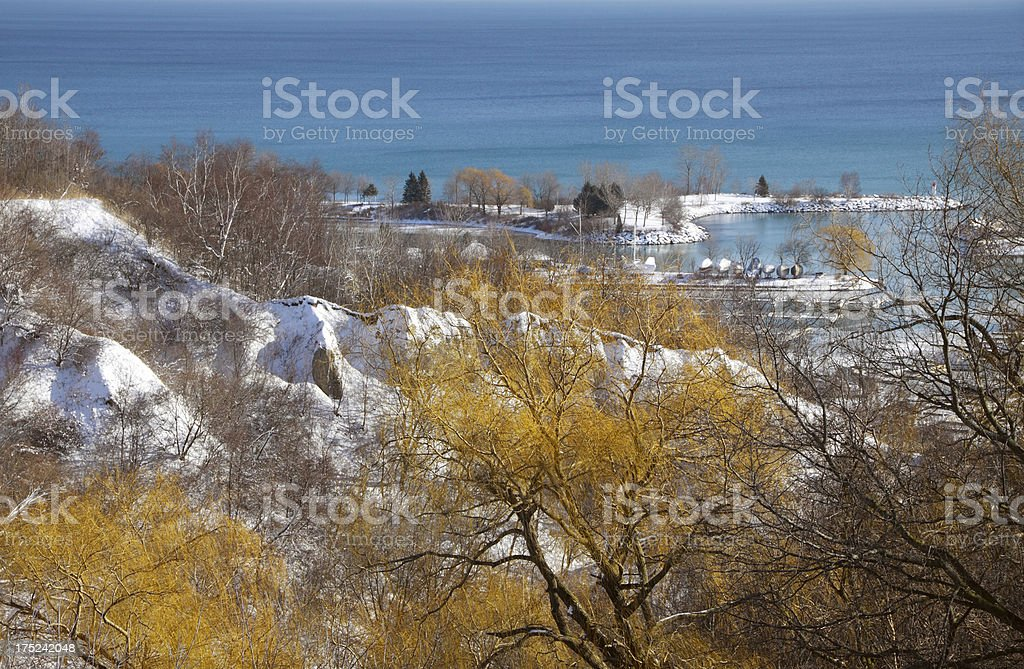 Scenic landscape photograph of the Bluffs in winter royalty-free stock photo