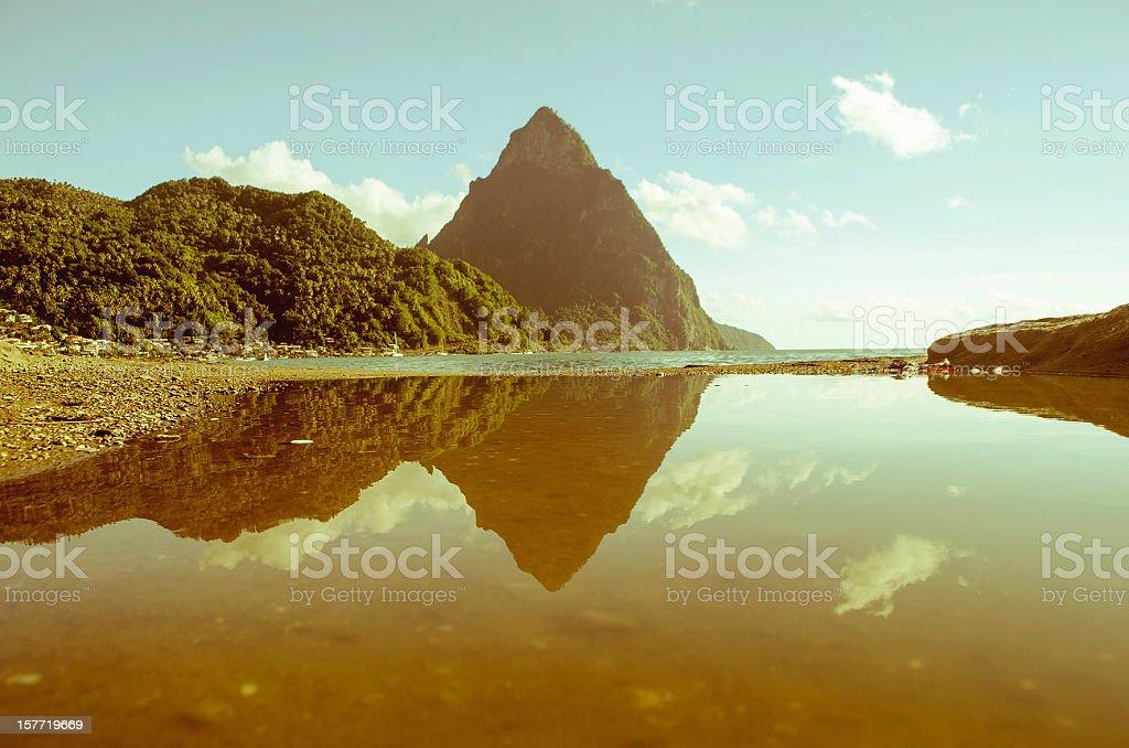 scenic landscape reflection with mountain peak stock photo