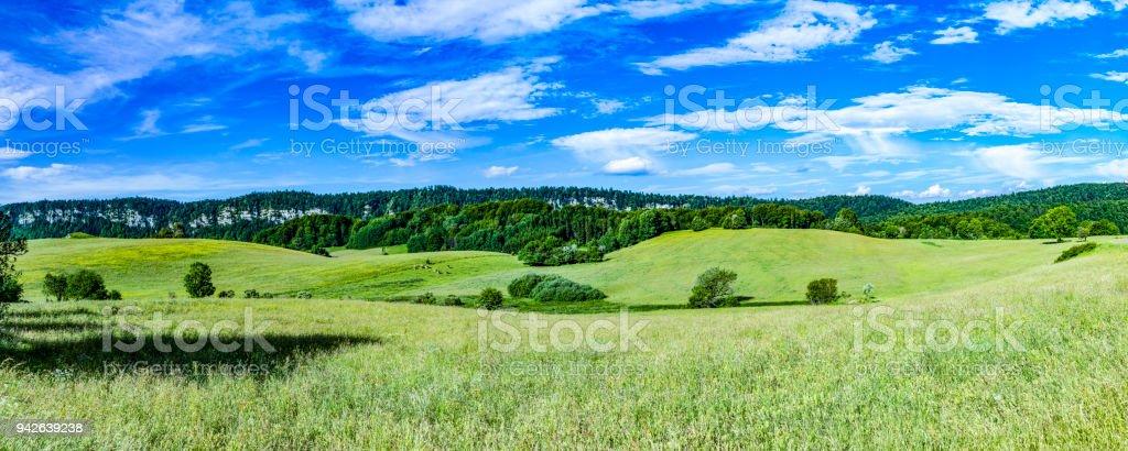 Naturskona Landskapet Kommer Kullar Och Angar I Le Frasnois I Juraregionen I Frankrike Foton Och Fler Bilder Pa Alperna Istock