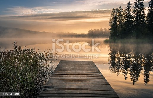 Scenic landscape with morning mood and sunrise at autumn in Hämeenlinna, Finland