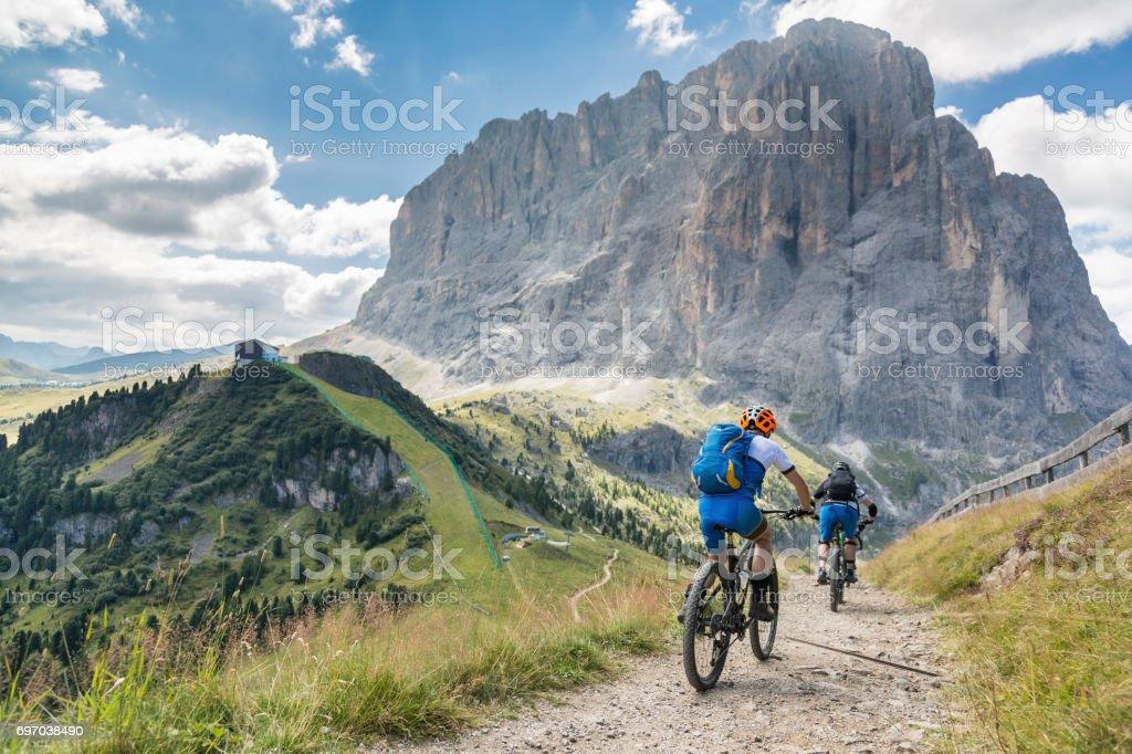 Scenic Langkofel Dowhillbiking, Dolomites, Italy stock photo