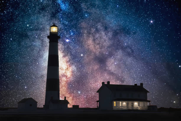 Scenic lighthouse and night sky, Outer Banks North Carolina stock photo